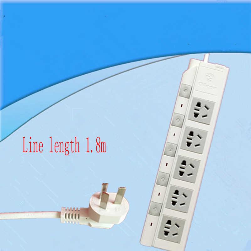 Nowy 4 wylot ładowarka AC gniazdo ścienne wtyczka przewód zasilający Adapter z ponad 1.8M kabel przedłużający niezależny przełącznik