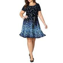 Oversized Summer Women Dress New Casual Large Size Short Sleeve O Neck Midi Dress Dot Print A Line Party Dresses Plus Size  6XL