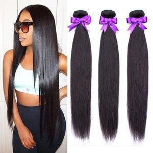 Image 1 - Straight Menselijk Haar Bundels 100 G/stk Braziliaanse Hair Weave Bundels 100% Human Hair Extension 24 26 28 30 Niet Remy ms Liefde