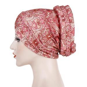Image 5 - Gorro turbante estampado musulmán, sombrero islámico, étnico, para envolver la cabeza, hijab, gorros islámicos, turbante para interiores, 2019