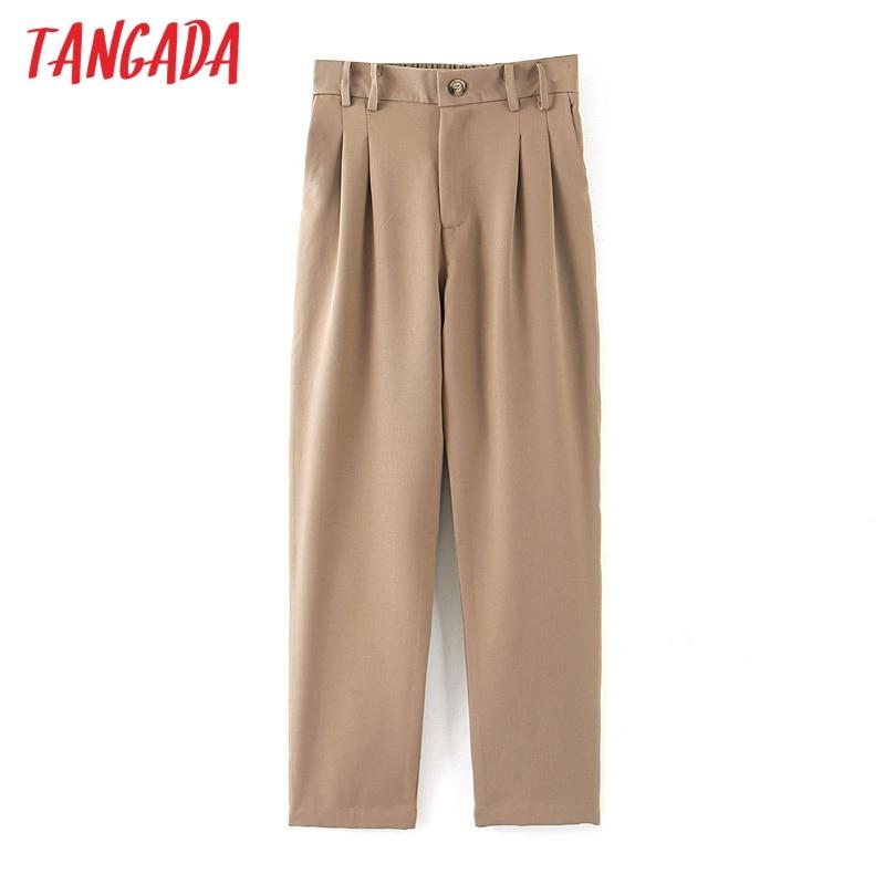 Tangada Fashion Women Khaki Suit Pants Trousers Pockets Pleated Waist Pocket 2019 Office Lady Long Pants Pantalon QB30
