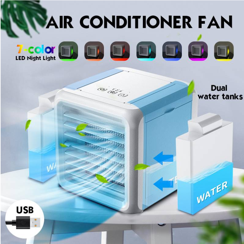 Mini Portable Air Conditioner 7 Colors Light Conditioning Humidifier Purifier USB Desktop Air Cooler Fan With 2 Water Tanks Home