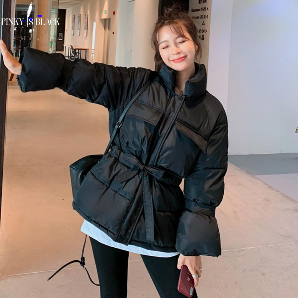 PinkyIsBlack Winter Jacket Women Coat 2019 Short   Parkas   For Women 4 Colors Wadded Jackets Warm Flare Sleeve Outwear With Belt