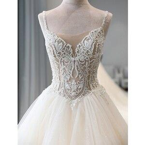 Image 3 - מבריק חרוזים קריסטל גוף נסיכת חתונה שמלות אונליין Vestido Noiva כתף רצועות ללא משענת כלה אשליה
