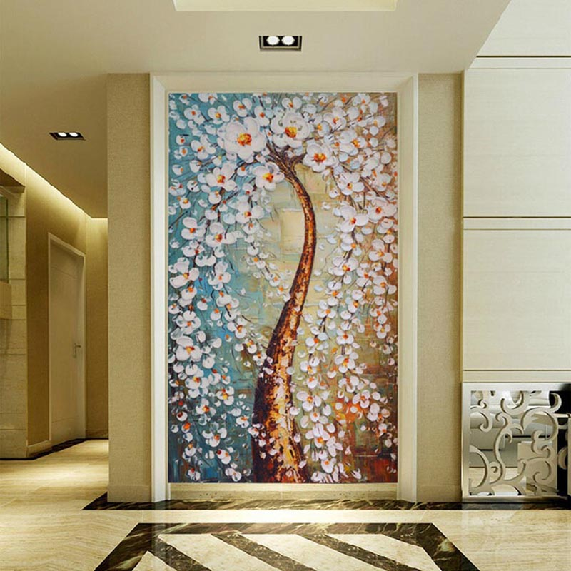 Dropship 3D Wallpaper Modern Abstract Art Colorful Tree Oil Painting Photo Wall Murals  Hotel Gallery Entrance Backdrop Wall