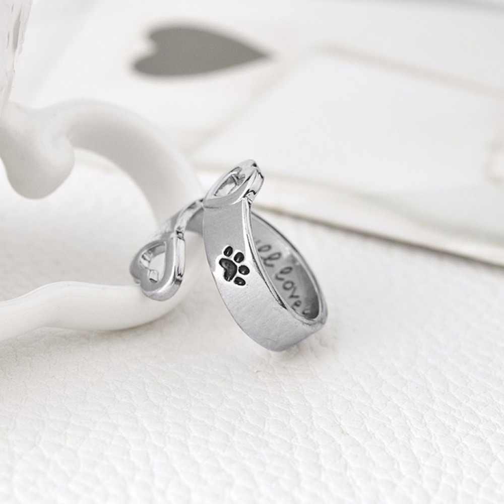 I Love You Forever Brief Gebogen Huisdier Poot Ringen Hond Kat Memorial Zwart Emaille Ring Paar Sieraden