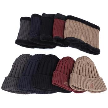 2019 New Fashion Men's Winter Knit Beanie Scarf Brand Maple Leaf Thick Lining Plus Velvet casual hat Solid color Soft Cap Bonnet