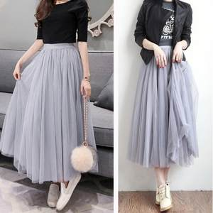 Tulle Skirts Mesh Pleated Elastic Korean-Version High-Waist Women Solid-Color Fashion