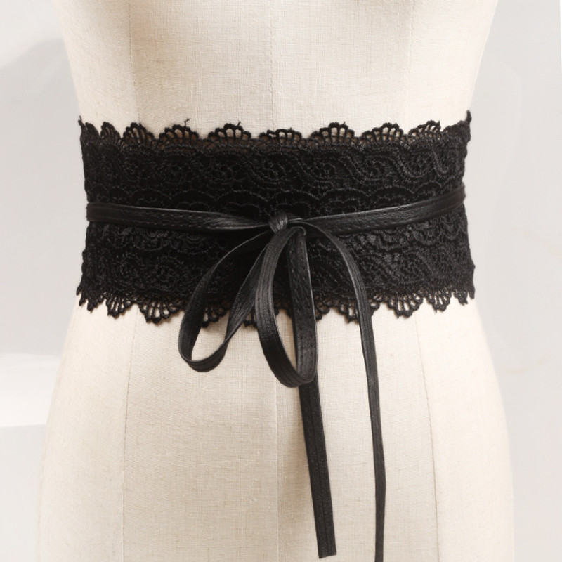 Fashion Belts For Women Faux Leather Lace Wide Belt Female Bowknot Weaving Belt Boho Waist Band Ceinture Cummerbunds