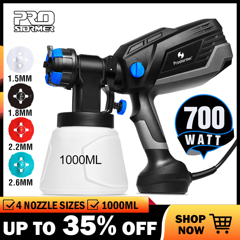 PROSTORMER HVLP Home Paint Sprayer 700W Electric Spray Gun 4 Nozzle Sizes 1000ml Flow Control Airbrush