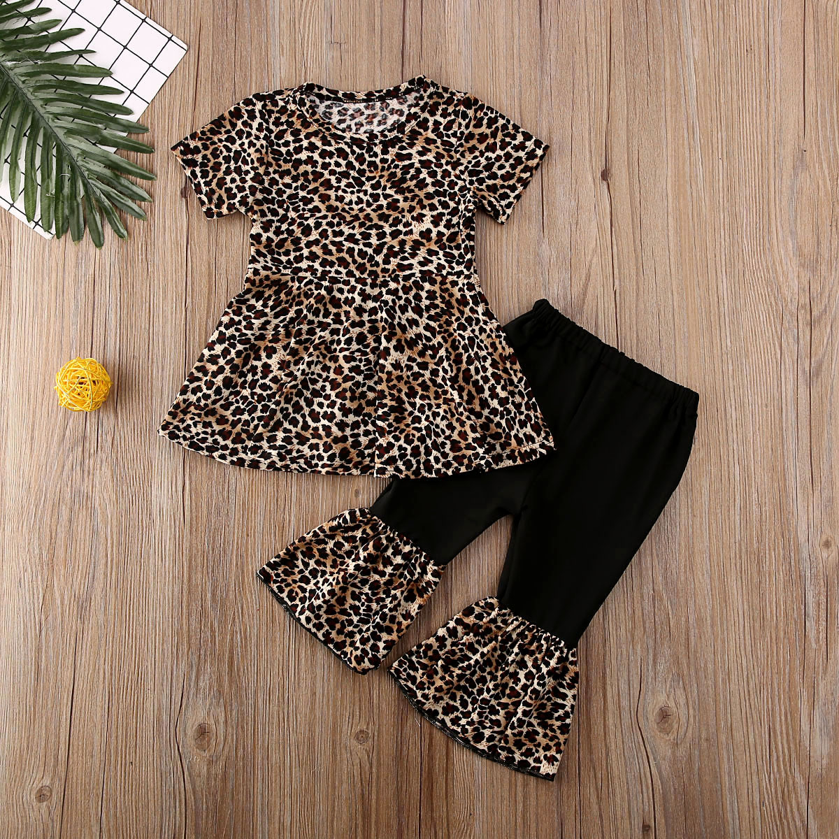 Pudcoco Newborn Baby Girl Clothes Leopard Print Short Sleeve Ruffle Dress Tops Bell-Bottoms Pants 2Pcs Outfits Cotton Clothes