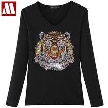 Top-Tees Tiger-Tshirt Designer Women's Plus-Size Diamonds Cotton Arrrive of 5XL Lady