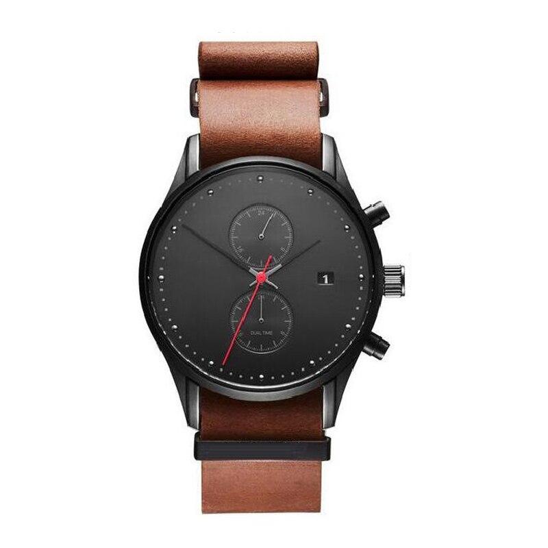 Mode montre décontractée pour homme Top marque de luxe en cuir Quartz montre-bracelet homme horloge chronographe étanche Sport montres pour hommes