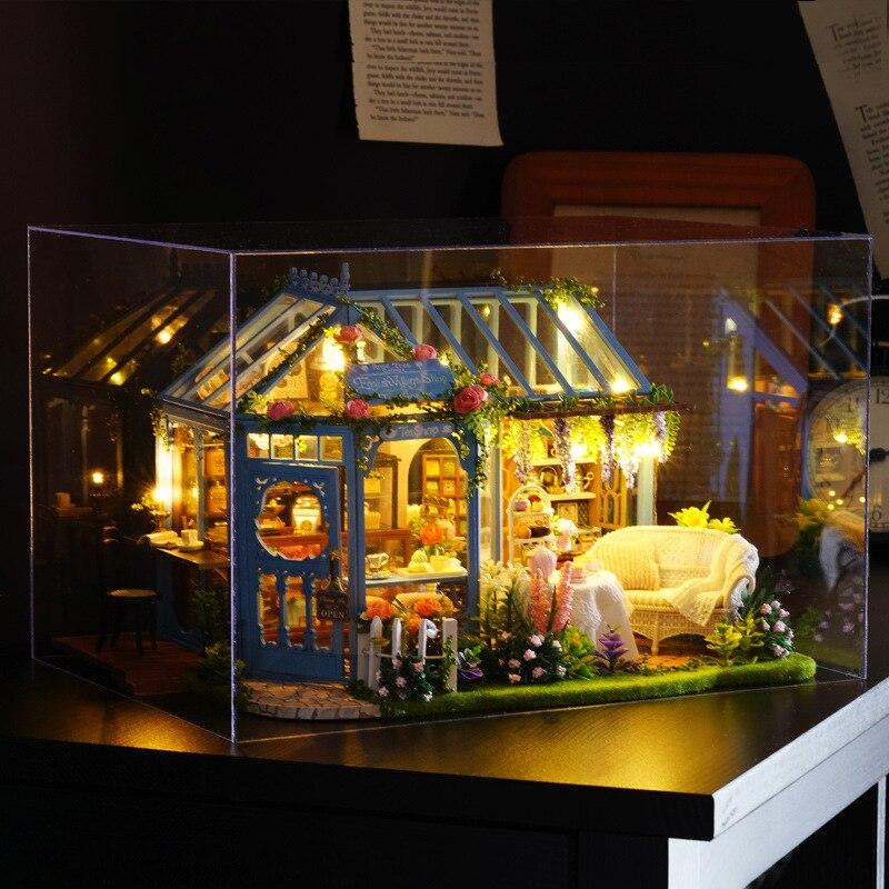[] Nouveaux produits A-068 Rose chambre maison de thé mignon chambre bricolage petite maison modèle d'architecture à la main