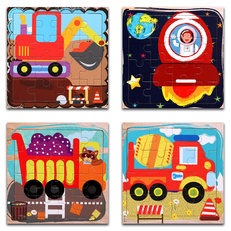 Wooden Puzzles 16Pcs Kids Joy Superior Quality Puzzle Wood Cartoon Construction Vehicle Jigsaw Educational Toys For Children