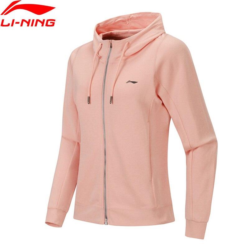 Li-Ning Women Training Series Hoodie Loose Fit 82% Cotton 18% Polyester Pockets LiNing Sports Hooded Sweater AWDP382 WWW1034