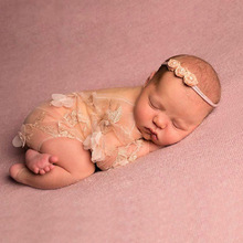 Baby Newborn Chiffon Photoshoot Onesies Photography Props Girl Lace Romper Infant Anniversary Photograph Clothing