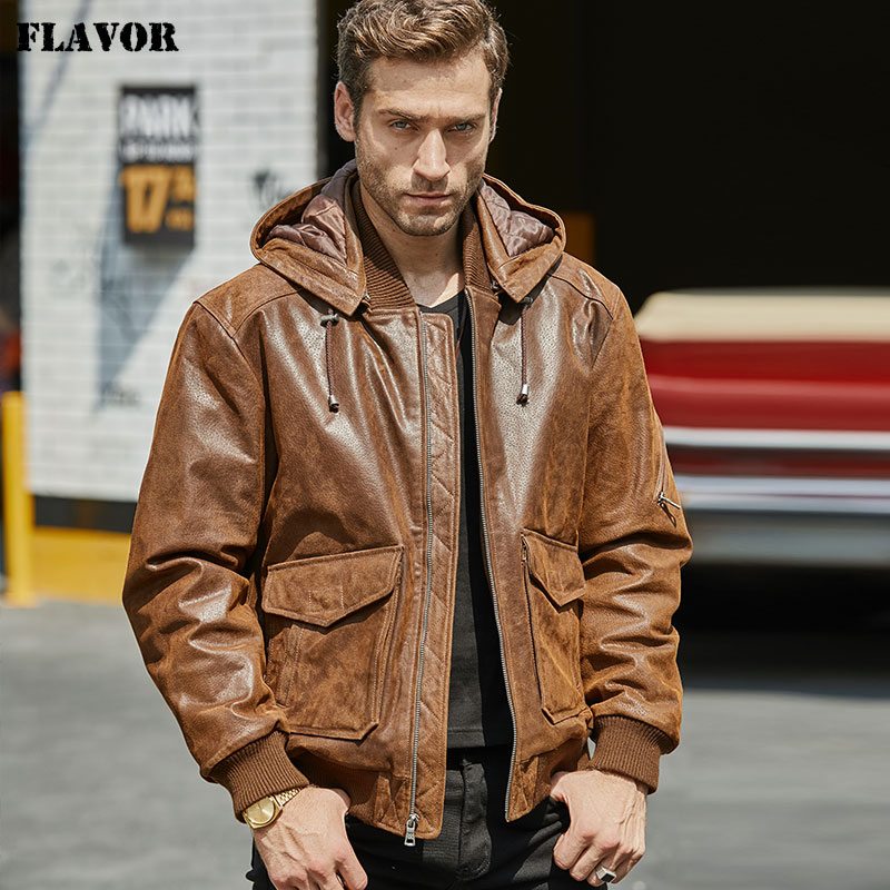 New Men's Leather Jacket, Brown Jacket Made Of Genuine Leather With A Removable Hood, Warm Leather Jacket For Men