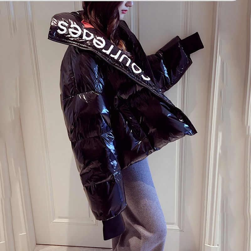 2019 Musim Dingin Glossy Down Parka Wanita Tahan Air Mantel Bordir Jaket Ukuran Besar Longgar Musim Dingin Hangat Tebal Jaket Wanita Jaket