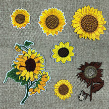 Garden Sunflower Applique Embroidered Sun Flower Fabric Patch Diy Sticker for Clothing Backpack Children Accessories(China)