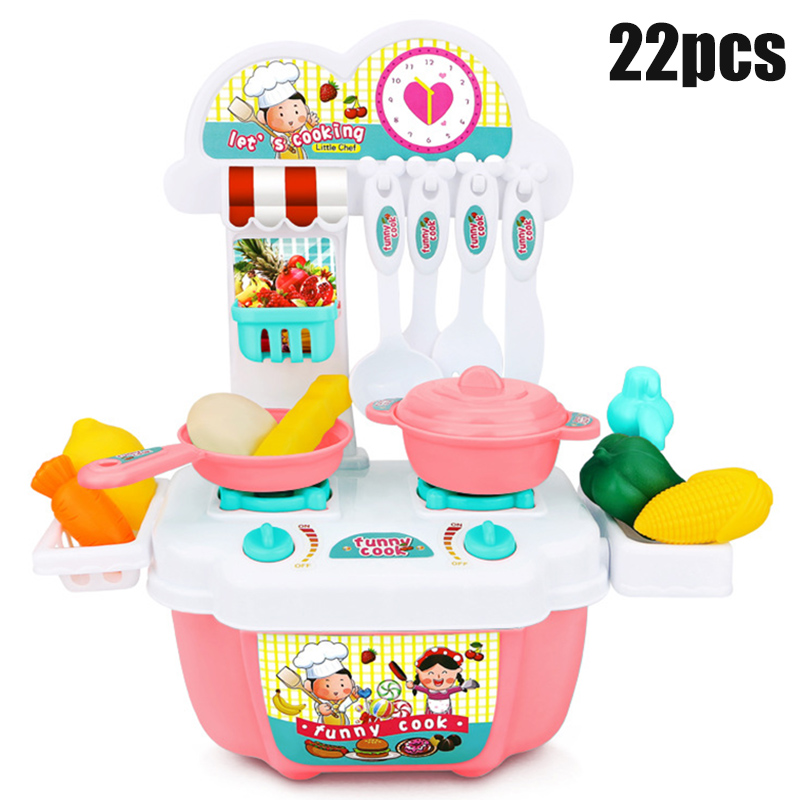 22pcs Play Kitchen Kit For Kids Pretend Cooking Set Roleplay Toddler Playhouse Game Supplies