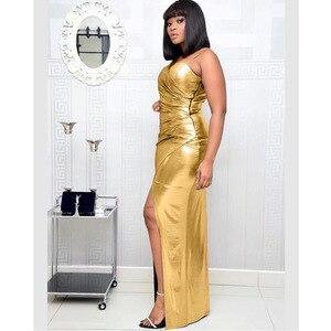 Image 3 - فساتين أفريقية للنساء الجديدة الأكثر مبيعًا ملونة البرنز نساء حفلة فستان طويل الخامس الرقبة فتاة أصغر فستان طويل