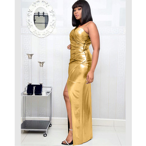 Image 3 - Vestidos africanos para mujer, nuevo superventas, Popular, colorido, bronce, Vestido largo de fiesta con cuello en V, vestido largo para chica más joven