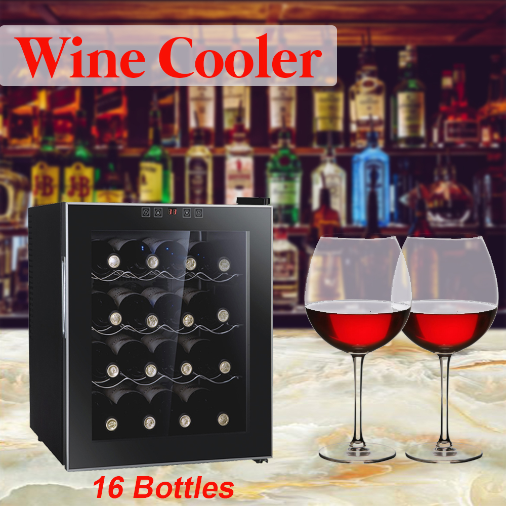 Professional 8/12/16 Bottles Thermostatic Wine Cabinet Wine Cooler Refrigerator Air-tight Beer Drink For Commercial/Household