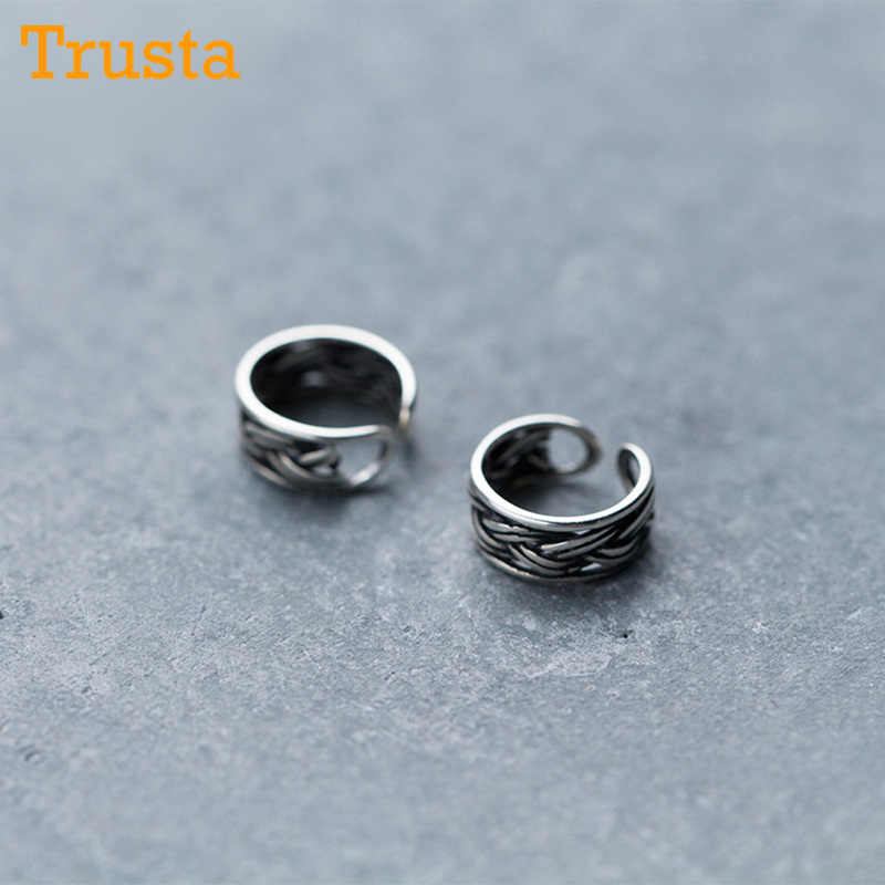 Trusta 100% 925 Solid Real Sterling Thai Silver Ear Cuff Clip On Earrings For Women Girl Without Piercing Earings Jewelry DS913