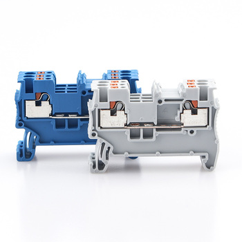 Din Rail Terminal Block PT-1.5 Electrical Wire Spring Connection Push In Wiring Conductor 10pcs Terminal Connector Strips PT1.5 din rail terminal block uk 2 5b wire electrical conductor universal connector screw connection terminal strip block uk2 5 10pcs