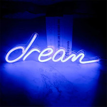 Dream Neon Signs USB for Led Neon Pub Cool Light Wall Art Bedroom Bar Decorations Home Accessories Party Holiday Novelty Display