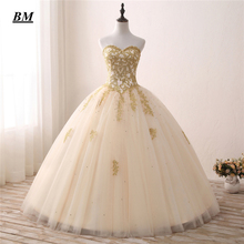 Lace Gold Quinceanera Dresses 2019 Ball Gown Sweetheart Beaded Sweet 16 Formal Prom Party Vestido De 15 Anos BM28