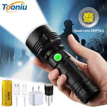 Powerful XHP70.2 LED Flashlight Super Bright 3 Modes Waterproof Tactical Torch USB Rechargeable Telescopic Zoom Camping Light