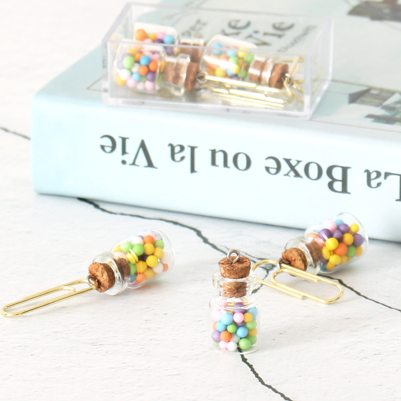 TUTU Cute Creative Wishing Bottle Office School Paper Clips Bookmark Fine Student Memo Clips Set Stationery Supplies H0418