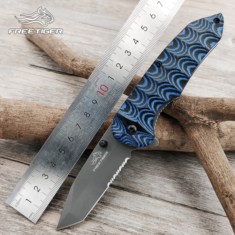 FREETIGER FT602 Folding Knife Serrated 8Cr17 Blade Micarta Handle Smooth Outdoor Hunting Camping Tactical Pocket EDC Tool Knives