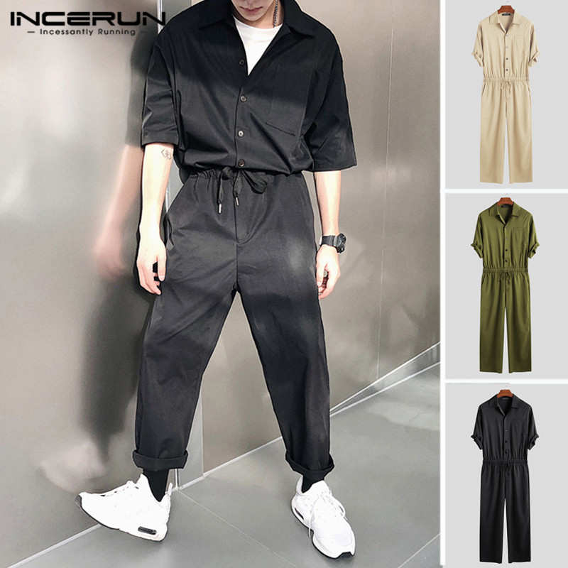 2020 Fashion Mens Cargo Overalls Half Sleeve Solid Color Joggers Button Street Chic Men Rompers Leisure Pants Jumpsuits INCERUN
