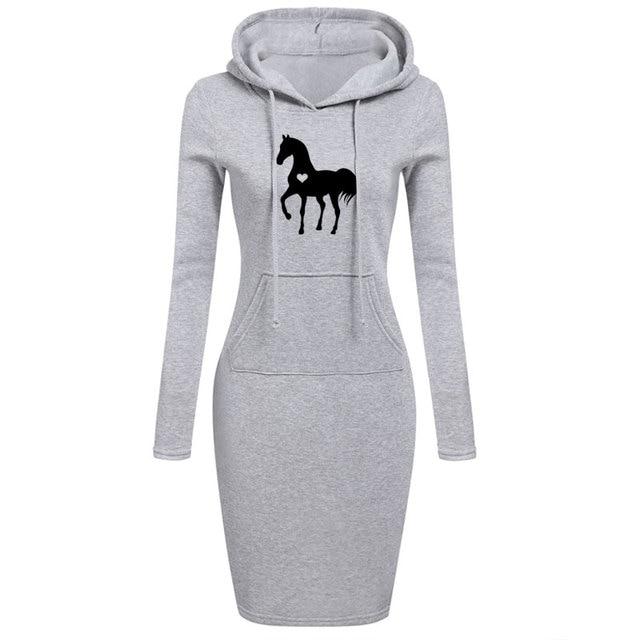 Women's Long Sleeve Dress With Equestrian Logo  2