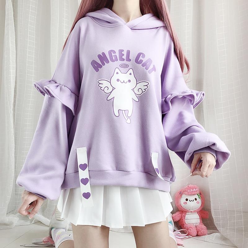 Winter Kawaii Printed Women Sweatshirt Japanese Cute Angel Cat Ruffle Hoody Girls Pullover Sweet Anime Purple Hooded Hoodies