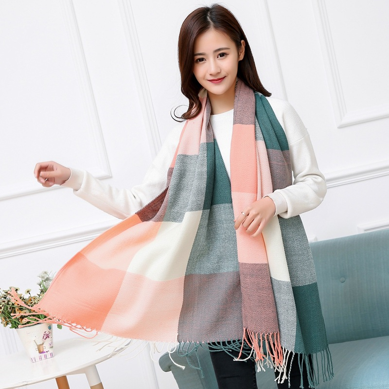 2019 Autumn & Winter Dual Purpose Women's Faux Cashmere Tassels Long Thick Warm Color Plaid Scarf Shawl