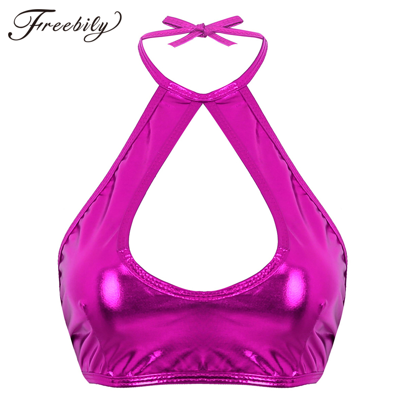 Women Shiny Faux Leather Halter Neck Backless Nightclub Party Festival Rave Crop Tops Pole Dance Costume Slim Fit Sexy Tops