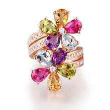 Feminino luxo jóias rosa anel de ouro delicado multi-cor zircônia cúbica cristal flor elegante temperamento anel de casamento