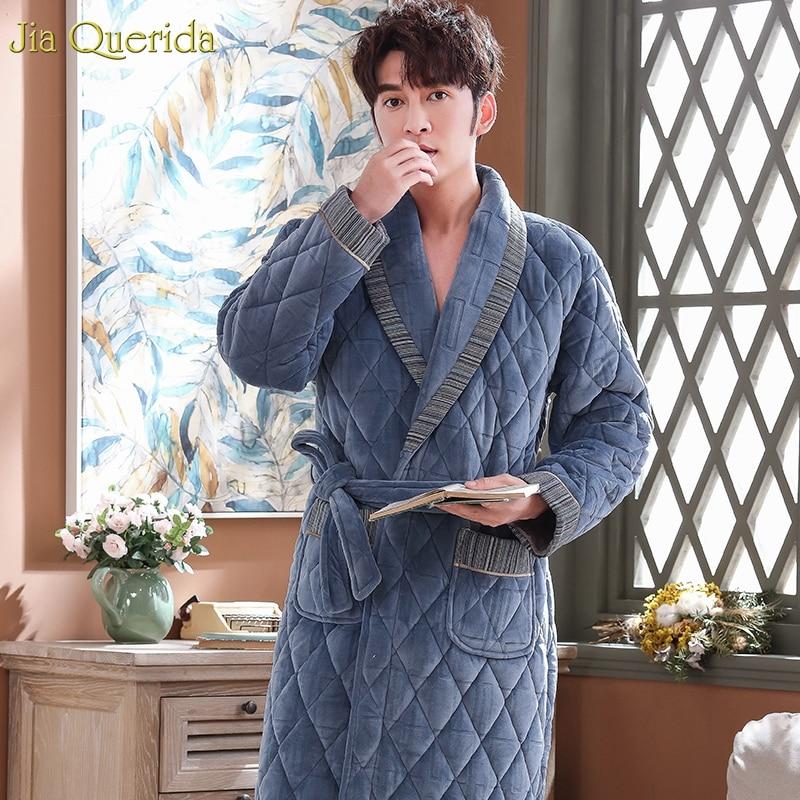 Men Robe Winter Thick Home Wear Long Night Dressing Gown 3 Layer Padded Keep Warm House Coat Luxury Men Bath Robes Velvet Kimono