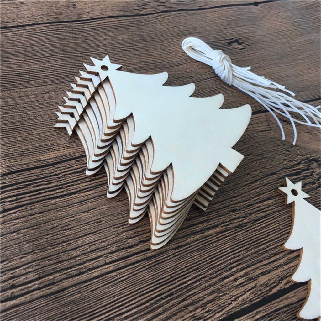 10 шт. деревянные в форме рождественской елки ремесло натуральный пустой Рождественская елка подвесной знак подвесные украшения