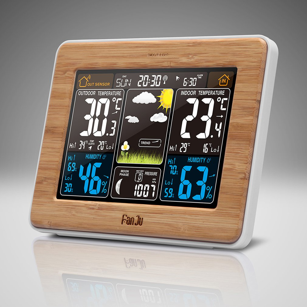 FJ3365 -DCF Color Screen Weather Forecast Clock Bamboo Electric Wave Clock Multi-Function Electronic Rf Wireless Calendar US