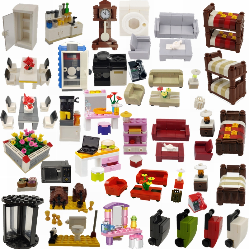 Аксессуары Блокировка город кровати диван обеденный стол стиральная машина телефон холодильник цити мебель город МОС строительные блоки игрушки