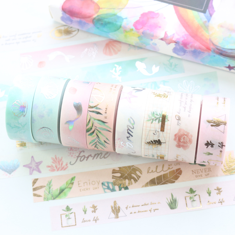 Domikee Cute Candy Gold Foil Japanese Washi Tape Roll Kawaii School Kid Decorative Scrapbooking Craft Diary Masking Tape 15mm*5m