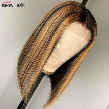Ishow Ombre Human Hair Wigs Short Bob Human Hair Wigs For Women Brown And Blonde Highlight Wig Straight Ombre Lace Front Wig - DISCOUNT ITEM  52 OFF Hair Extensions & Wigs