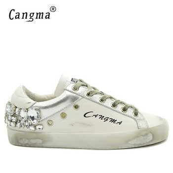 CANGMA Men Sneakers Brand Rhinestone Shoes Genuine Leathe Lace-Up Hip Hop Shoes Breathable Footwear Large Sizes - DISCOUNT ITEM  0% OFF All Category