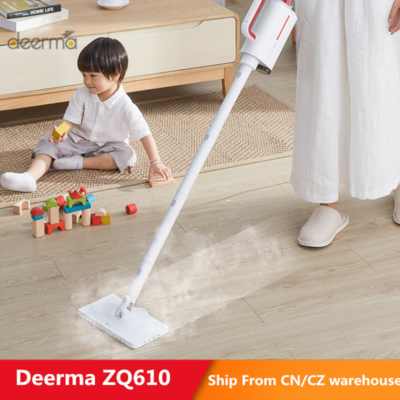 Deerma DEM - ZQ610 Steam Cleaner Electric Handheld Steam Mop Floor Cleaner 5 Attachments Cleaning Machine Anti-Dry Water Tank