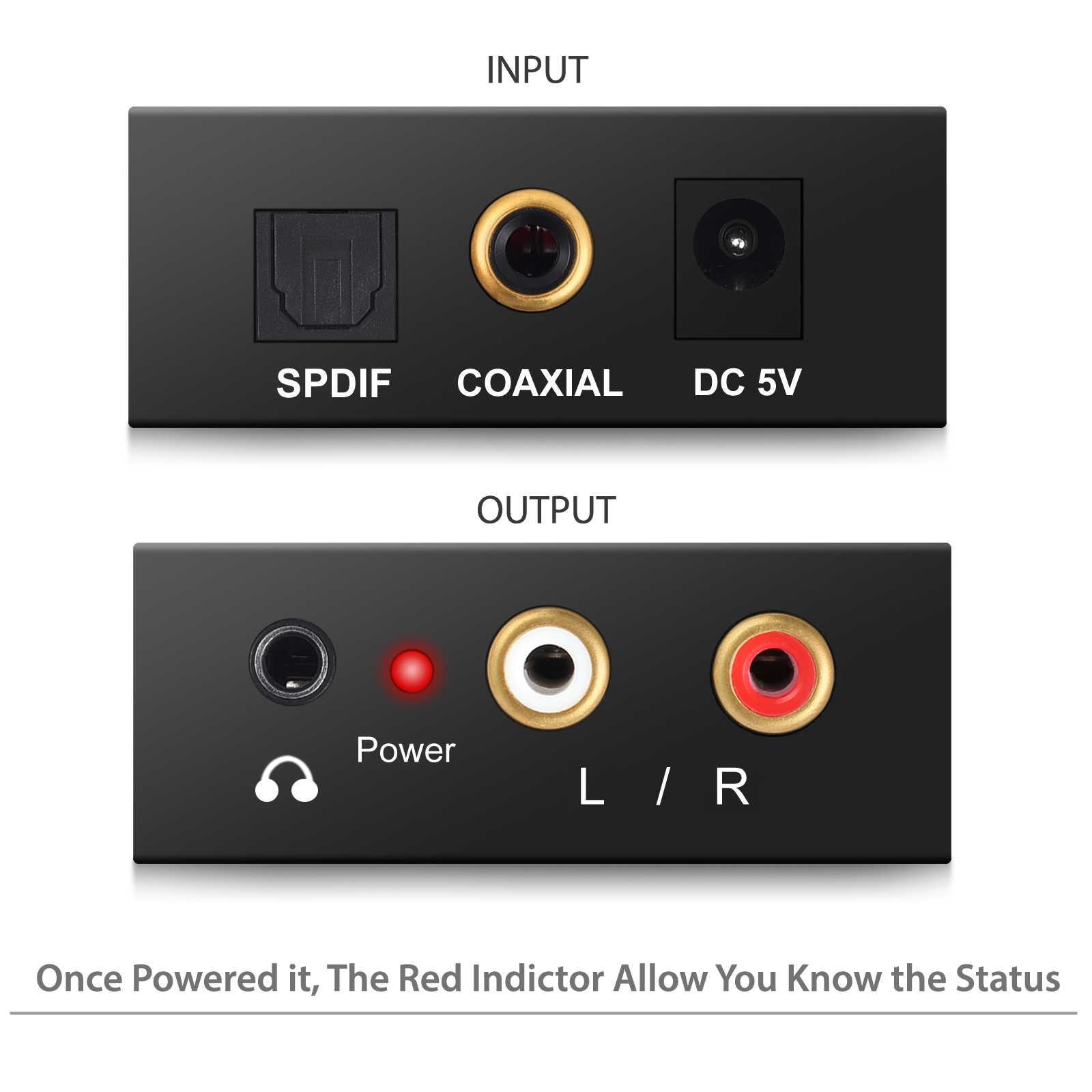 Prozor DAC cyfrowy na analogowy konwerter optyczny koncentryczny z włókna SPDIF na RCA 3.5mm Jack Audio Adapter z kabel optyczny dla DVD